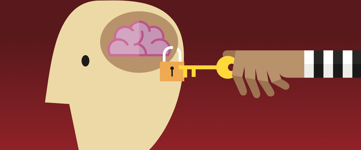 illustration of someone unlocking a lock on a brain