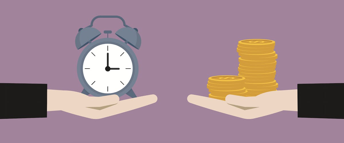 An illustration of one hand with a clock and another hand with a stack of coins.